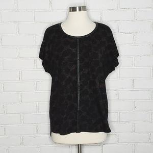 [Vince Camuto] Faux Leather Leopard Print T-Shirt
